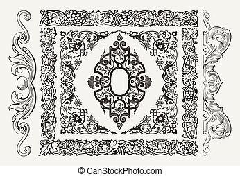Vektoren aus goldenen Ornate-Seiten-Elementen: Grenzen, Banner, Divider, Zierpflanzen und Muster