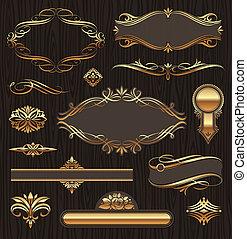 Vektoren aus goldenen Ornate-Seiten-Elementen: Transparente, Rahmen, Devider, Zierde und Muster auf dunklem Holzgrund
