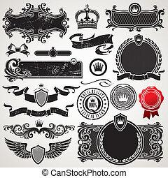 Vektoren mit königlichen Rahmen und Elementen