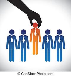 vektorgrafik, begriff, fähigkeiten, graphic-, firma, konkurrieren, gleich, wahlmöglichkeit, candidate., person, arbeit, recht, kandidaten, viele, machen, hiring(selecting), pfahl, am besten, shows