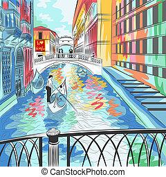 Vektorlandschaft, die Seufzerbrücke in Venedig