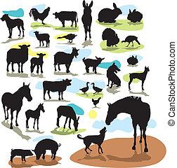 Vektorsilhouettes Farmtiere einstellen