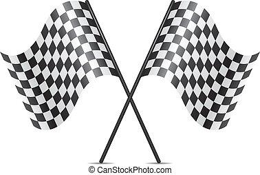 Vektorsymbol der gekreuzten Rennflaggen