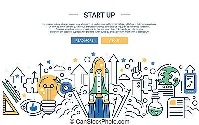 Veranschaulichung der modernen Start-up-Linie flache Design Komposition und Infographics Elemente mit einer Shuttle-Start Szene. Header, Banner für Ihre Website.