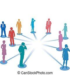 Verbinden Sie Geschäftsleute mit Netzwerkverbindungsraum