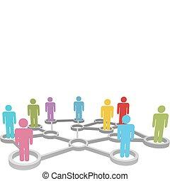 Verbinden Sie verschiedene Menschengeschäfte oder soziale Netzwerke