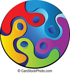Verbindungen durch das Welt-Logo