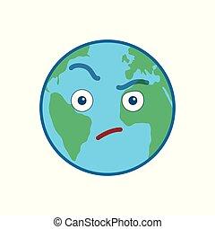 Verdächtige Weltkugel isoliert Emoticon
