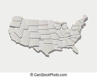 Vereinigte Staaten 3D-Vektorkarte.