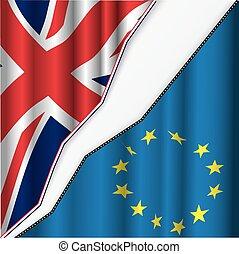 Vereinigtes Königreich und europäische Gewerkschaftsflagge.