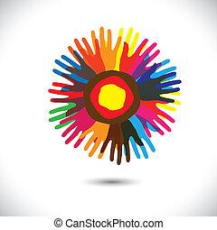 vereint, leute, universal, gemeinschaft, flower:, stehende , heiligenbilder, concept., bruderschaft, glücklich, bunte, vertritt, abbildung, hand, blütenblätter , einheit, portion, grafik, dieser, usw, vektor, mannschaft