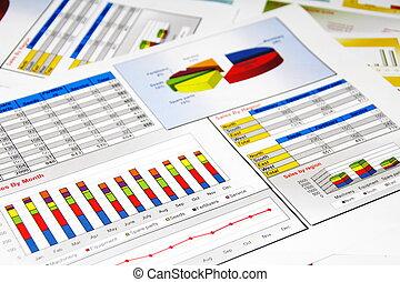 Verkaufsberichte in Statistiken, Graphen und Diagrammen.