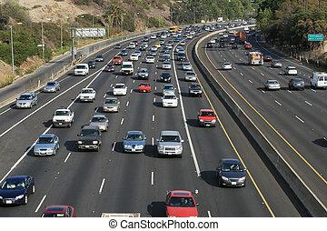 Verkehr auf der Hollywood 101 Freeway. Los Angeles, Kalifornien, USA.