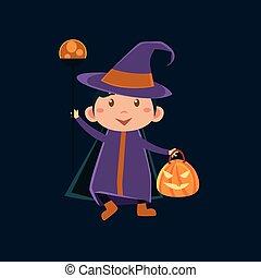 verkleidung, m�dchen, haloween, hexe, violett