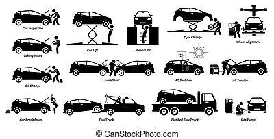 verlegenheit, auto, garage., mechaniker, kontrollieren, werkstatt