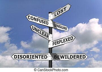 Verlorene und verwirrte Wegweiser