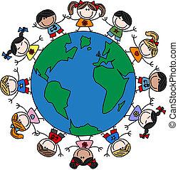 Vermischte ethnisch glückliche Kinder.
