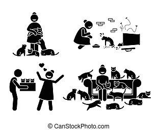 verrückt, figur, piktogramm, icons., katz, stock, dame