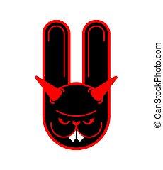 verrückt, wahnsinnig, abbildung, rabbit., vektor, hare., animal., böser , bunny., teufel
