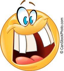 Verrücktes Lächeln Emoticon.