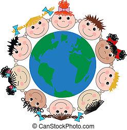 verrührt ethnisch, kinder, glücklich