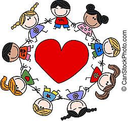 verrührt ethnisch, liebe, kinder, glücklich