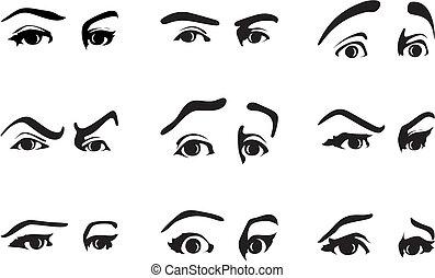verschieden, auge, abbildung, vektor, emotions., ausdrücken, ausdruck