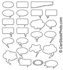 verschieden, comics, web., bearbeiten, sammlung, oder, formen, hinzufügen, vektor, text, leicht, size., irgendein, leerer