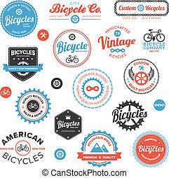 verschieden, embleme, etiketten, fahrrad