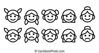 verschieden, grobdarstellung, ages:, isolated., symbol, heiligenbilder, linie, sammlung, baby, einfache , teenager, vektor, weibliche frau, granny., m�dchen, zeichnung, set.