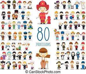 verschieden, kinder, satz, berufe, style., vektor, charaktere, 80, karikatur, collection: