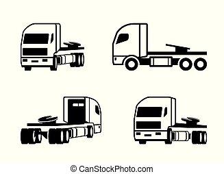 verschieden, lastwagen, perspektive, traktor
