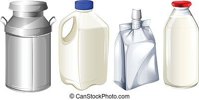 verschieden, milch, behälter