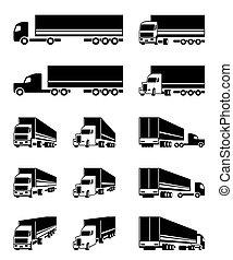 verschieden, perspektive, lastwagen