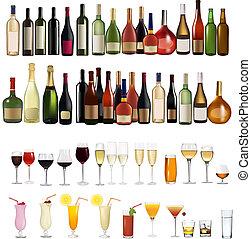 Verschiedene Drinks und Flaschen