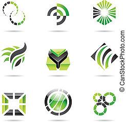 Verschiedene grüne, abstrakte Ikonen, Set 9