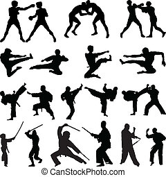 Verschiedene Kampfsport-Silhouetten.