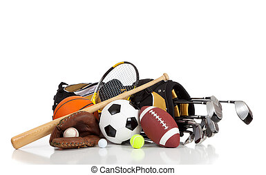 Verschiedene Sportgeräte mit weißem Hintergrund