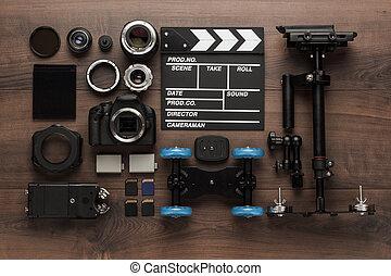 Verschiedene Video-Ausstattung Ansicht von oben