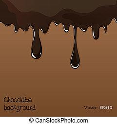 Verschmelzende Schokolade, die auf weißer Hintergrundvektor eingestellt ist