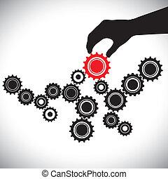 vertritt, grafik, kontrolliert, person(leader), &, wichtigkeit, glatt, abbildung, dieser, vektor, schwarz rot, schlüssel, mannschaft, gleichgewicht, weißes, funktionieren, zahnräder, hand(person)., ausrüstung