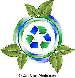 Verwerten Sie grüne Ikone mit Blättern