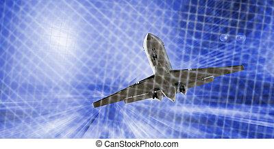 verwischen, motorflugzeug, hintergrund, bewegung