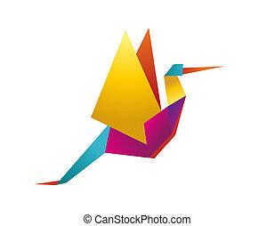 Vibrantfarbener Origami Storch