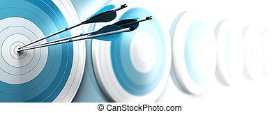 Viele blaue Ziele und drei Pfeile erreichen das Zentrum des ersten, das Bild verblasst von blau nach Weiß mit verschwommenem Effekt, horizontales Format für ein Banner. Strategisches Marketing oder Geschäftskom