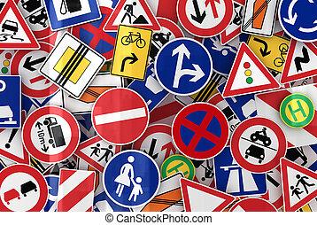 Viele Verkehrszeichen