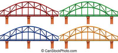 Vier bunte Brücken.