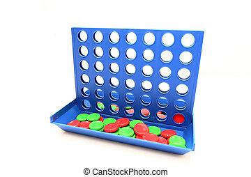 Vier in einem Linien-Bingo-Spiel, isoliert auf weißem Hintergrund