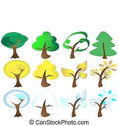 Vier Jahreszeiten Baum-Ikonen