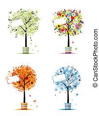 Vier Jahreszeiten - Frühling, Sommer, Herbst, Winter. Kunstbäume in Töpfen für dein Design